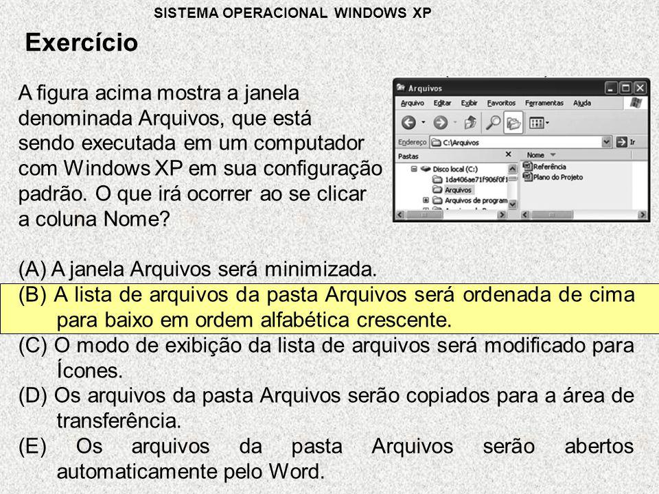 Exercício SISTEMA OPERACIONAL WINDOWS XP A figura acima mostra a janela denominada Arquivos, que está sendo executada em um computador com Windows XP em sua configuração padrão.