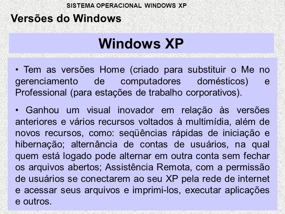 Windows XP • Tem as versões Home (criado para substituir o Me no gerenciamento de computadores domésticos) e Professional (para estações de trabalho corporativos).