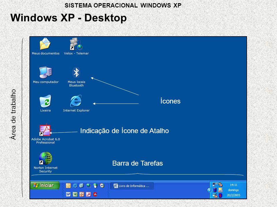 Área de trabalho Ícones Barra de Tarefas Windows XP - Desktop Indicação de Ícone de Atalho SISTEMA OPERACIONAL WINDOWS XP