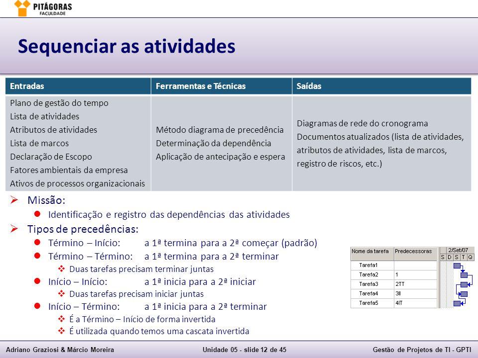 Adriano Graziosi & Márcio MoreiraUnidade 05 - slide 11 de 45Gestão de Projetos de TI - GPTI Sequenciar as atividades