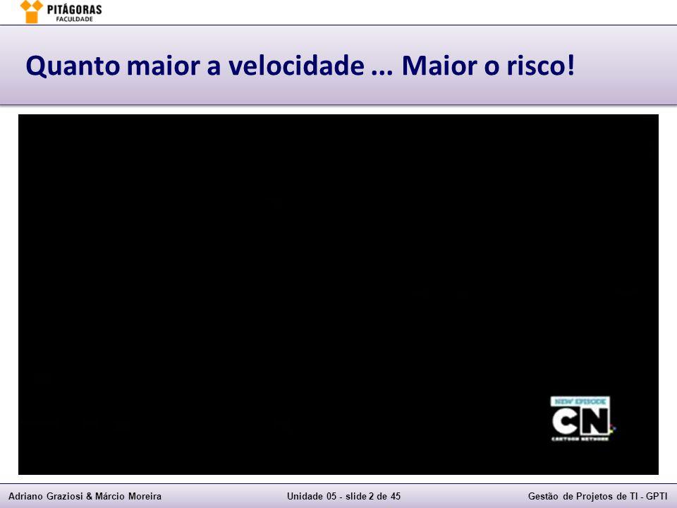 Adriano Graziosi & Márcio MoreiraUnidade 05 - slide 2 de 45Gestão de Projetos de TI - GPTI Quanto maior a velocidade...