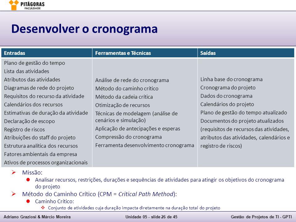 Adriano Graziosi & Márcio MoreiraUnidade 05 - slide 25 de 45Gestão de Projetos de TI - GPTI Desenvolver o cronograma