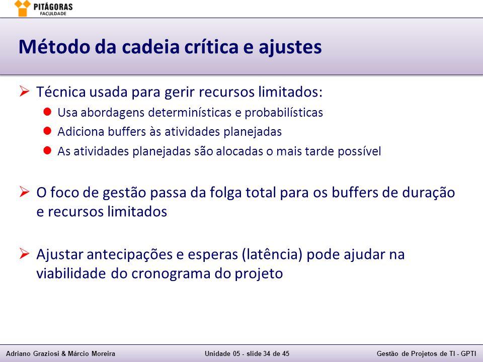 Adriano Graziosi & Márcio MoreiraUnidade 05 - slide 33 de 45Gestão de Projetos de TI - GPTI Buffers  Buffer:  Buffer é uma atividade, sem trabalho, colocada num caminho para gerenciar as incertezas da cadeia crítica  Buffer do Projeto:  Pode ser colocado um buffer no projeto, no final da cadeia crítica, para proteger a data alvo de incertezas no caminho  Buffer de Alimentação:  É um buffer colocado na junção de caminhos que alimentam as atividades da cadeia crítica, para protegê-la de problemas nos caminhos de alimentação  Ex.: Atividade 1 Buffer de Atividade Atividade 2 Atividade 3 Buffer Projeto Cadeia Crítica 2d 3d 2d 4d 2d 1d = 7d = 8d Buffer de Alimentação