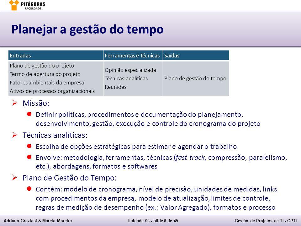 Adriano Graziosi & Márcio MoreiraUnidade 05 - slide 36 de 45Gestão de Projetos de TI - GPTI Técnicas de Modelagem  Análise de cenários (e se):  E se tal cenário ocorrer, o que ocorre com o projeto.