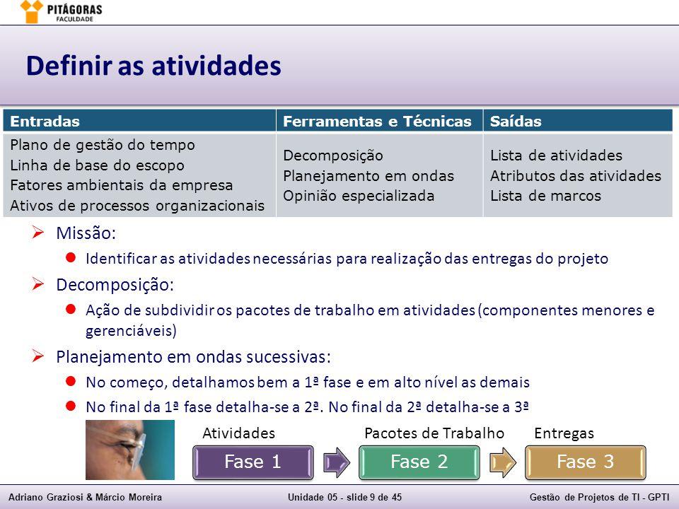 Adriano Graziosi & Márcio MoreiraUnidade 05 - slide 39 de 45Gestão de Projetos de TI - GPTI Exemplos de questões  6) Uma atividade tem uma IMC (data de início mais cedo) de dia 3, uma IMT (data de início mais tarde) de dia 13, uma TMC (data de término mais cedo) de dia 9 e uma TMT (data de término mais tarde) de dia 19.