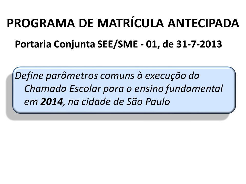 PROGRAMA DE MATRÍCULA ANTECIPADA Portaria Conjunta SEE/SME - 01, de 31-7-2013 Define parâmetros comuns à execução da Chamada Escolar para o ensino fundamental em 2014, na cidade de São Paulo CEMAT/DEGREM/CGEB – Secretaria da Educação do Estado de SP
