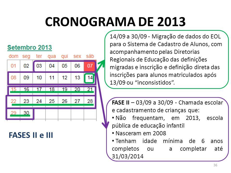 14/09 a 30/09 - Migração de dados do EOL para o Sistema de Cadastro de Alunos, com acompanhamento pelas Diretorias Regionais de Educação das definições migradas e inscrição e definição direta das inscrições para alunos matriculados após 13/09 ou inconsistidos .