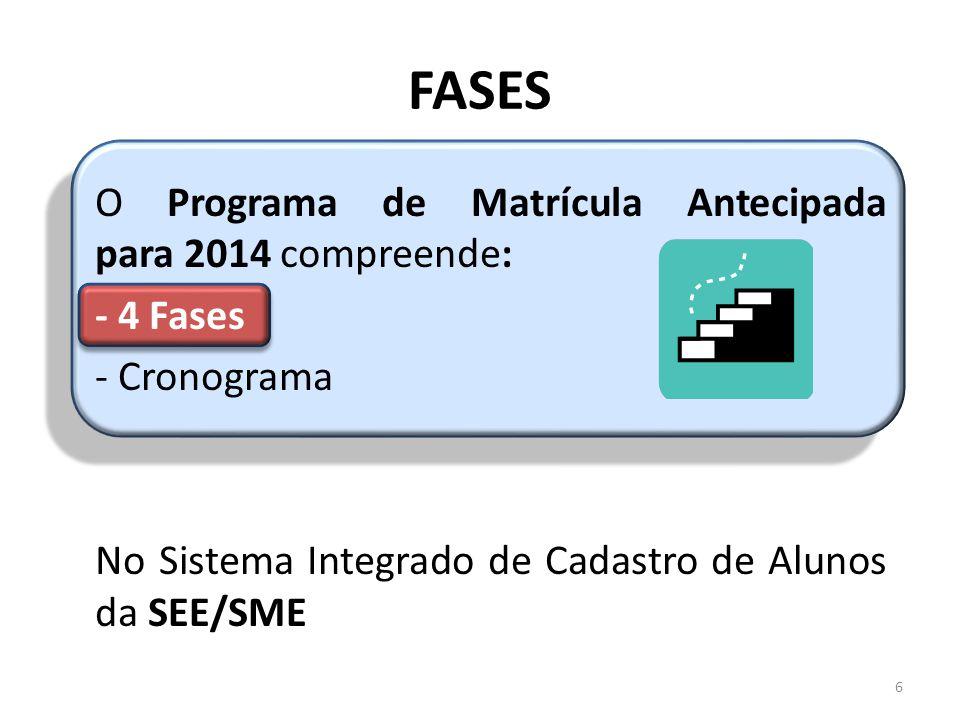 FASES O Programa de Matrícula Antecipada para 2014 compreende: - 4 Fases - Cronograma No Sistema Integrado de Cadastro de Alunos da SEE/SME 6