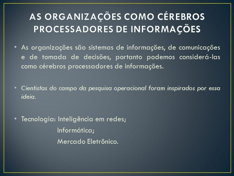 • As organizações são sistemas de informações, de comunicações e de tomada de decisões, portanto podemos considerá-las como cérebros processadores de informações.