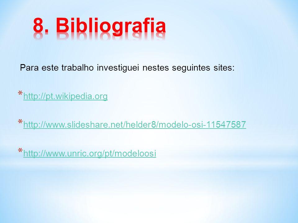 Para este trabalho investiguei nestes seguintes sites: * http://pt.wikipedia.org http://pt.wikipedia.org * http://www.slideshare.net/helder8/modelo-os