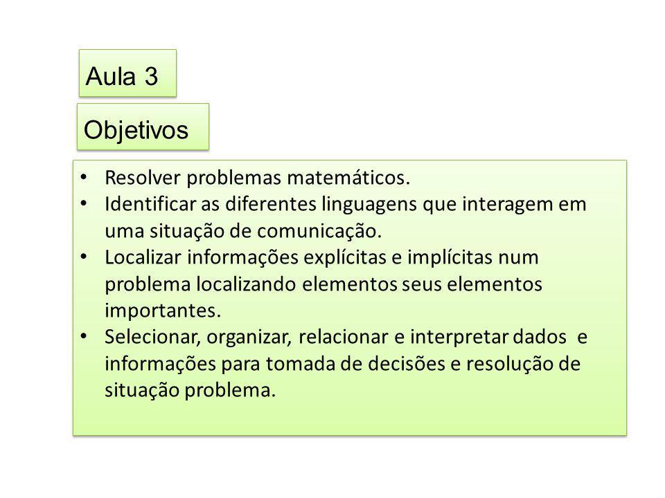 Objetivos • Resolver problemas matemáticos. • Identificar as diferentes linguagens que interagem em uma situação de comunicação. • Localizar informaçõ