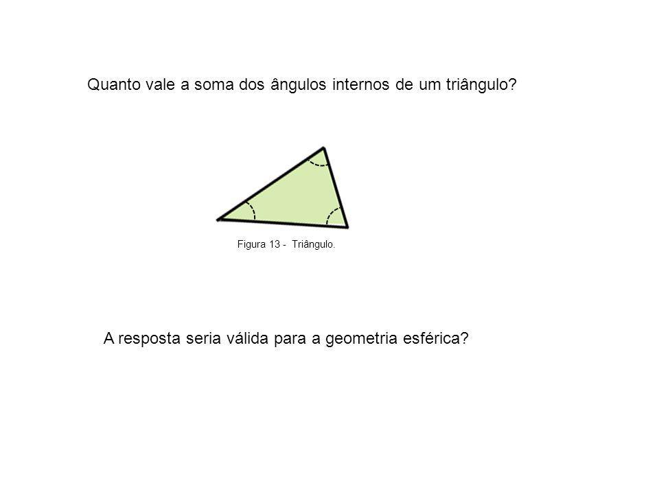 Quanto vale a soma dos ângulos internos de um triângulo? Figura 13 - Triângulo. A resposta seria válida para a geometria esférica?