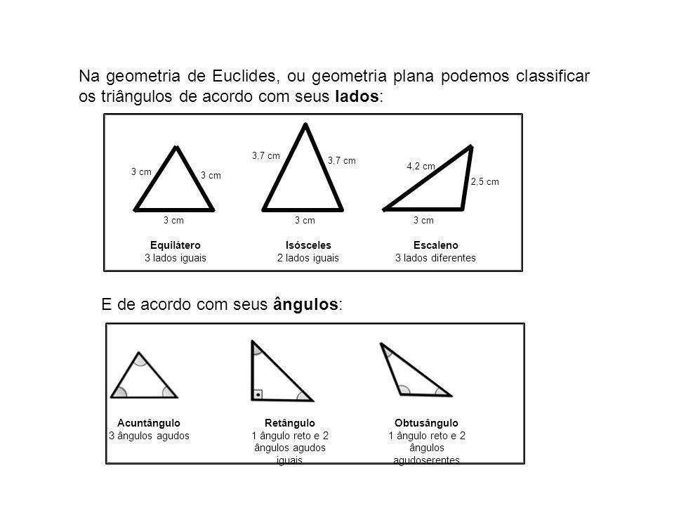 Na geometria de Euclides, ou geometria plana podemos classificar os triângulos de acordo com seus lados: 3 cm 3,7 cm 3 cm 4,2 cm 2,5 cm Equilátero 3 l