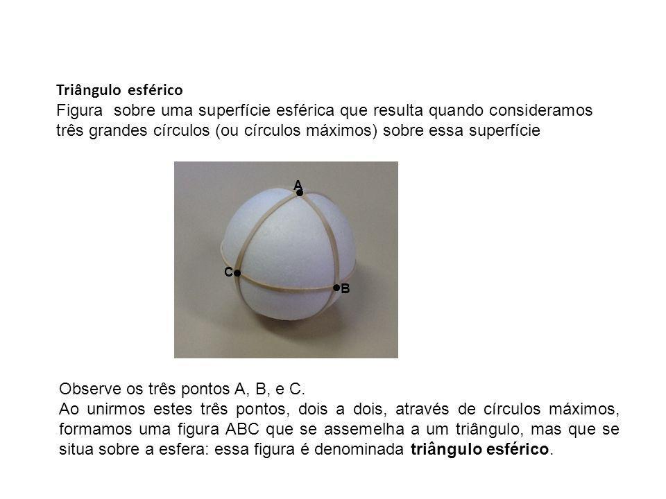 Triângulo esférico Figura sobre uma superfície esférica que resulta quando consideramos três grandes círculos (ou círculos máximos) sobre essa superfí