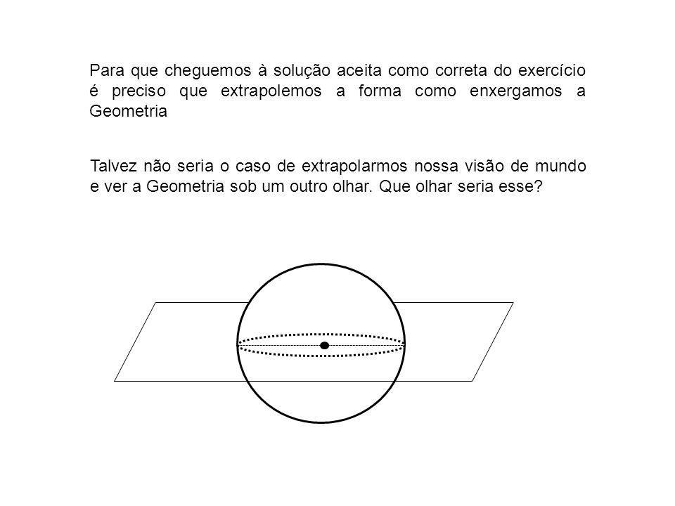 Para que cheguemos à solução aceita como correta do exercício é preciso que extrapolemos a forma como enxergamos a Geometria Talvez não seria o caso d