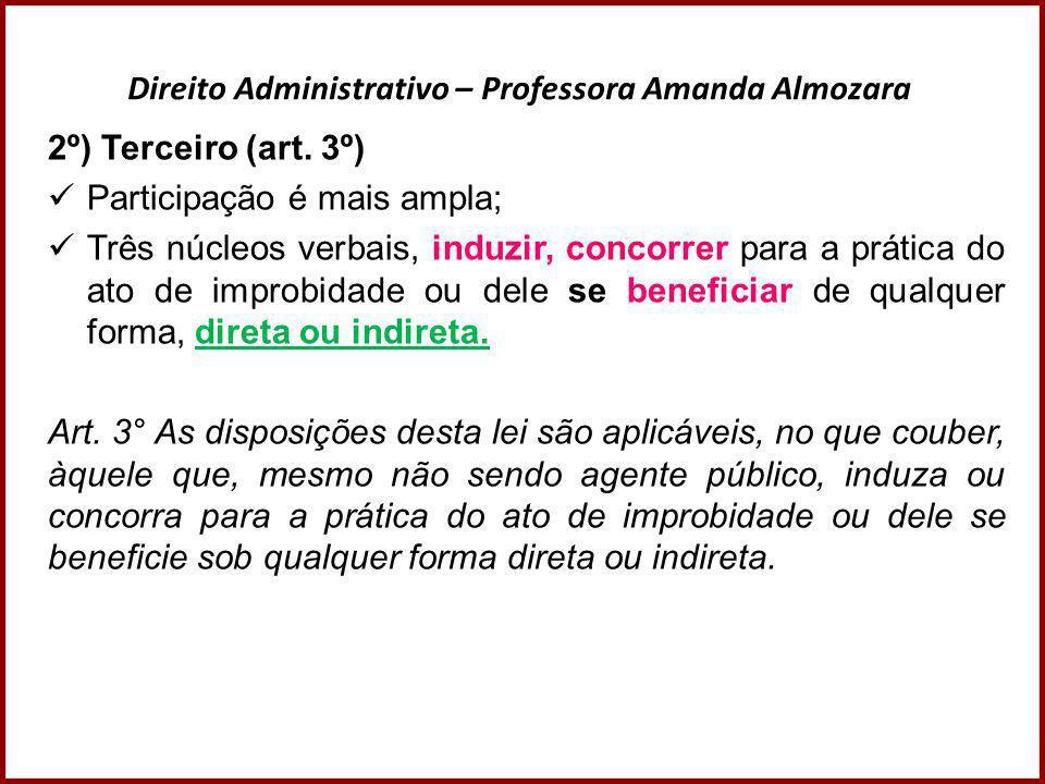 Direito Administrativo – Professora Amanda Almozara 2º) Terceiro (art. 3º)  Participação é mais ampla;  Três núcleos verbais, induzir, concorrer par