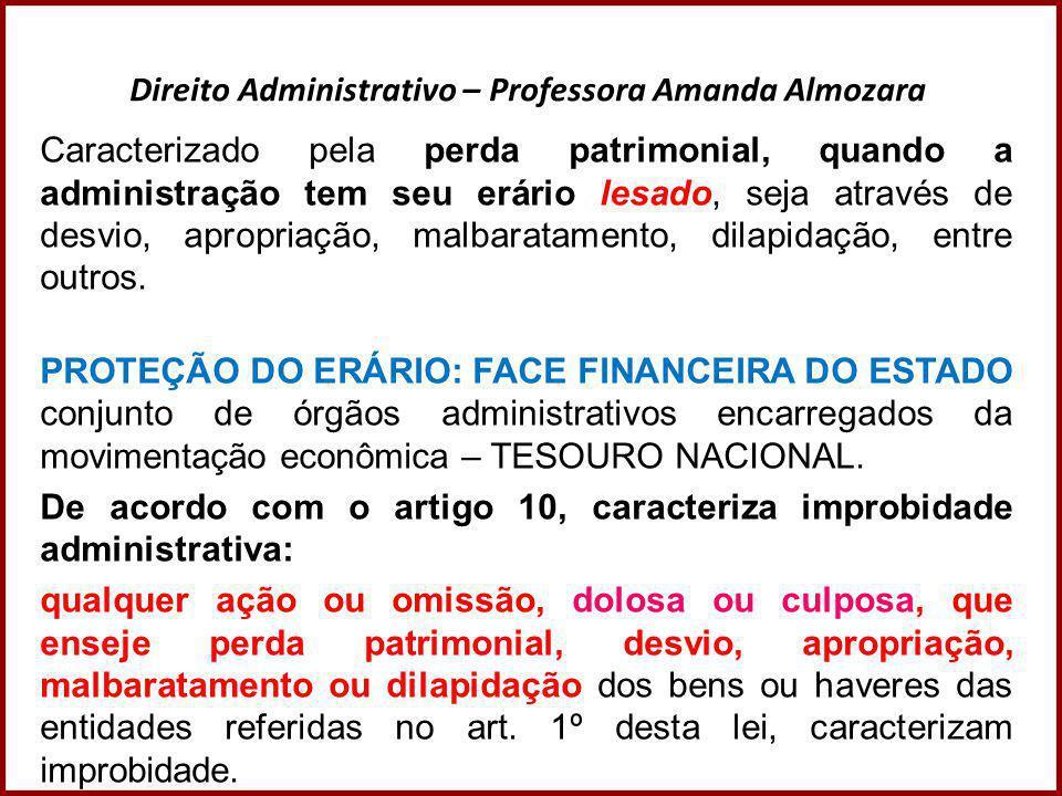 Direito Administrativo – Professora Amanda Almozara Caracterizado pela perda patrimonial, quando a administração tem seu erário lesado, seja através d