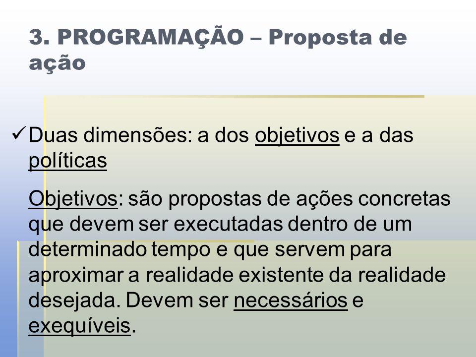 3. PROGRAMAÇÃO – Proposta de ação   Duas dimensões: a dos objetivos e a das políticas Objetivos: são propostas de ações concretas que devem ser exec