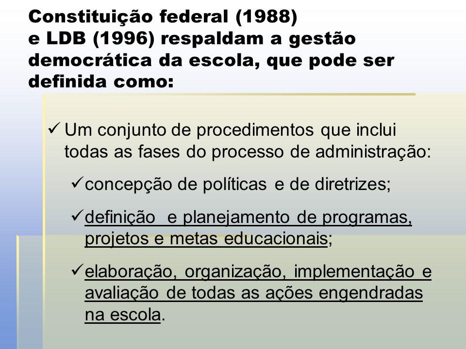 Constituição federal (1988) e LDB (1996) respaldam a gestão democrática da escola, que pode ser definida como:  Um conjunto de procedimentos que incl
