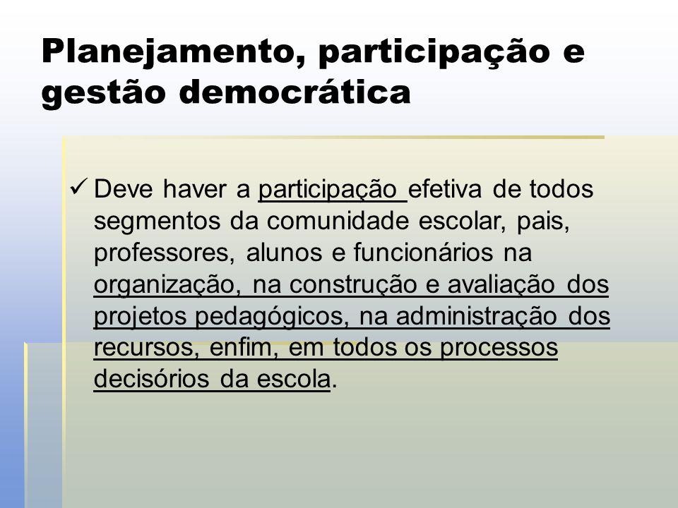 Planejamento, participação e gestão democrática  Deve haver a participação efetiva de todos segmentos da comunidade escolar, pais, professores, aluno