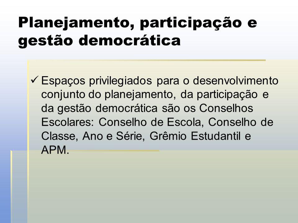 Planejamento, participação e gestão democrática  Espaços privilegiados para o desenvolvimento conjunto do planejamento, da participação e da gestão d