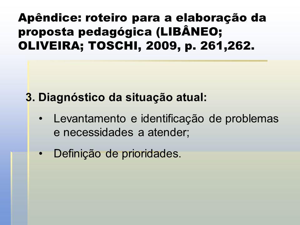 Apêndice: roteiro para a elaboração da proposta pedagógica (LIBÂNEO; OLIVEIRA; TOSCHI, 2009, p. 261,262. 3. Diagnóstico da situação atual: •Levantamen