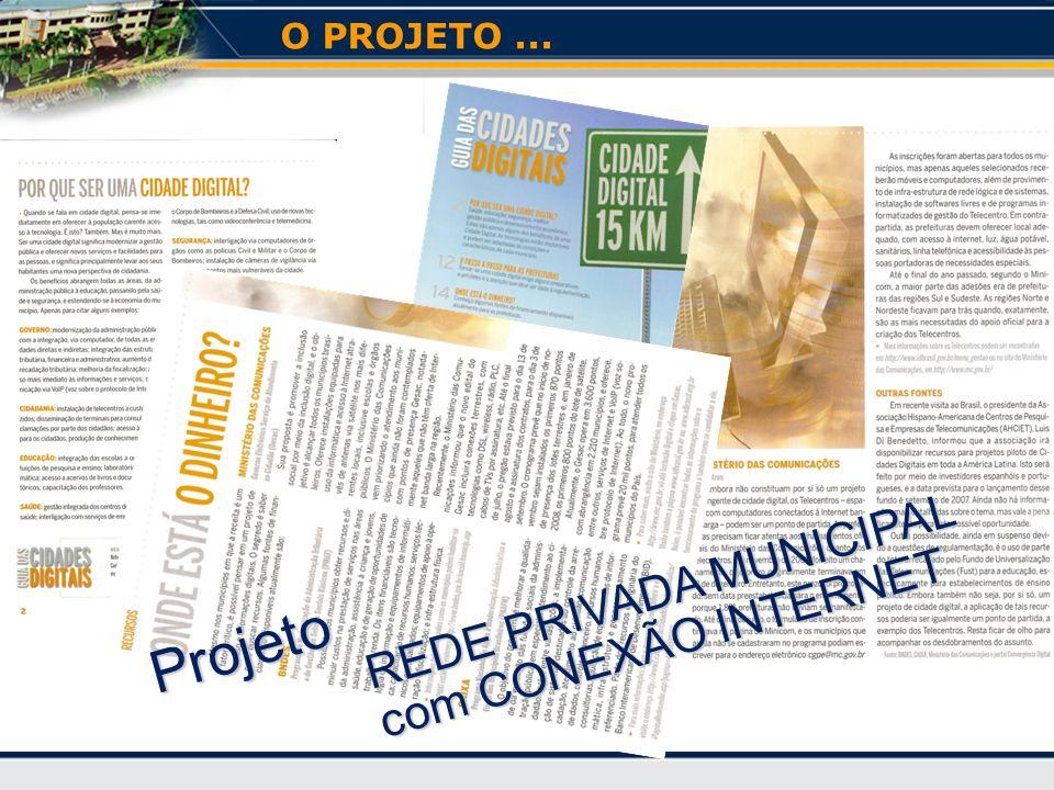 Projeto REDE PRIVADA MUNICIPAL REDE PRIVADA MUNICIPAL com CONEXÃO INTERNET com CONEXÃO INTERNET O PROJETO...