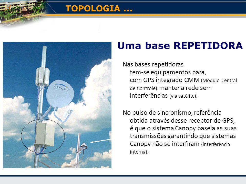 Nas bases repetidoras tem-se equipamentos para, com GPS integrado CMM (Módulo Central de Controle) manter a rede sem interferências (via satélite).