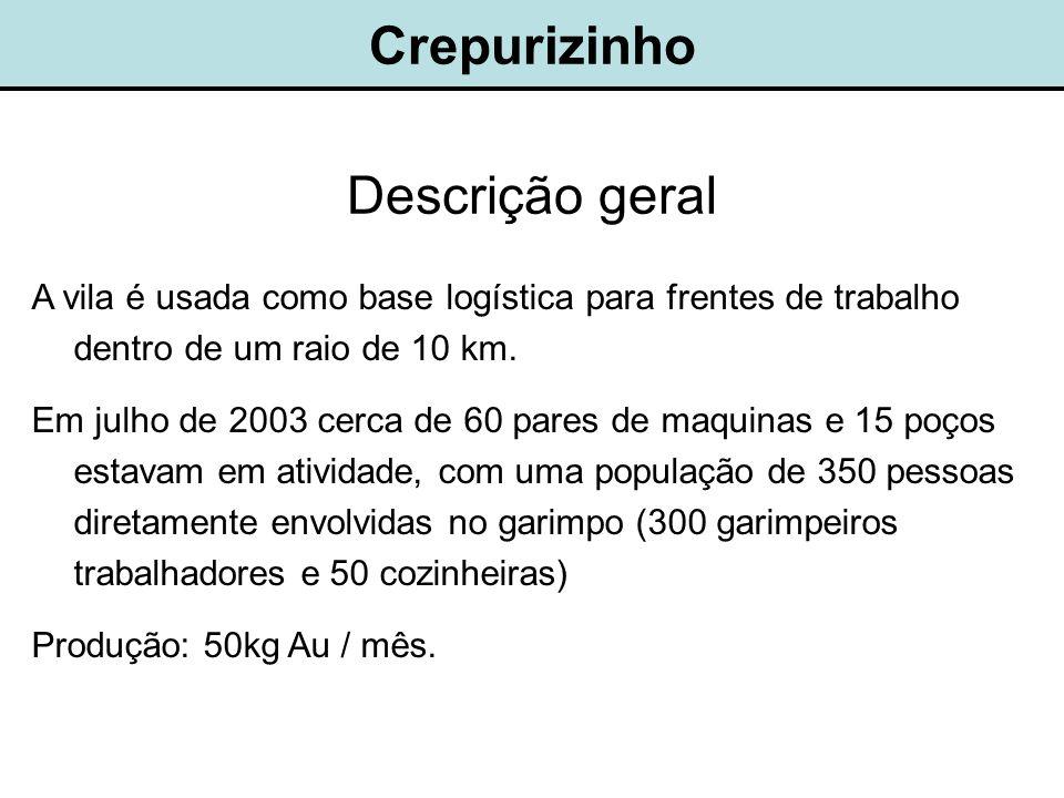 Crepurizinho Descrição geral A vila é usada como base logística para frentes de trabalho dentro de um raio de 10 km.