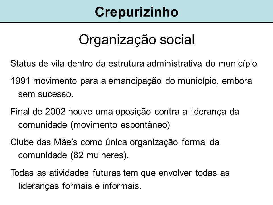 Crepurizinho Organização social Status de vila dentro da estrutura administrativa do município.