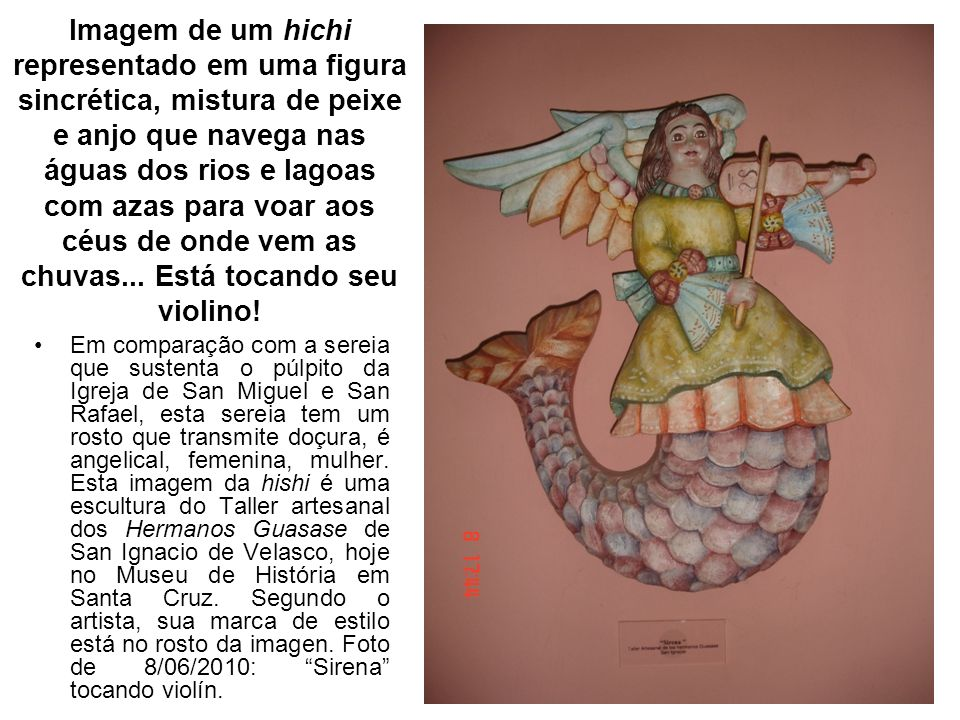 Imagem de um hichi representado em uma figura sincrética, mistura de peixe e anjo que navega nas águas dos rios e lagoas com azas para voar aos céus d