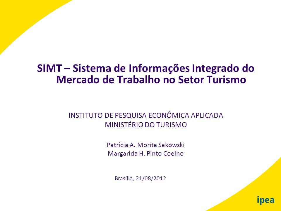 SIMT – Sistema de Informações Integrado do Mercado de Trabalho no Setor Turismo INSTITUTO DE PESQUISA ECONÔMICA APLICADA MINISTÉRIO DO TURISMO Patríci