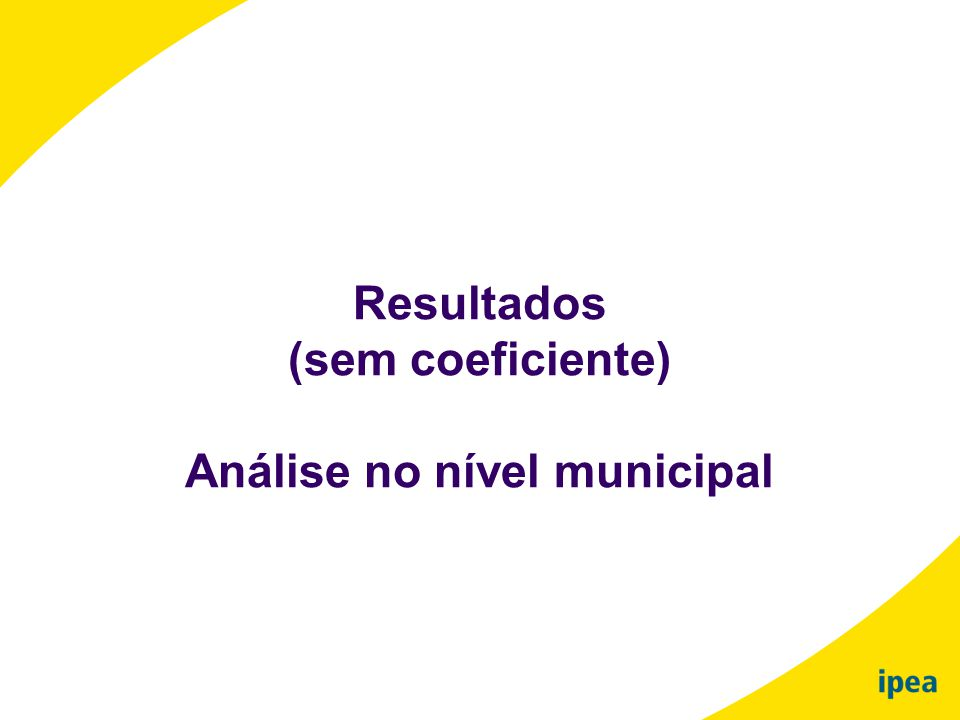Resultados (sem coeficiente) Análise no nível municipal