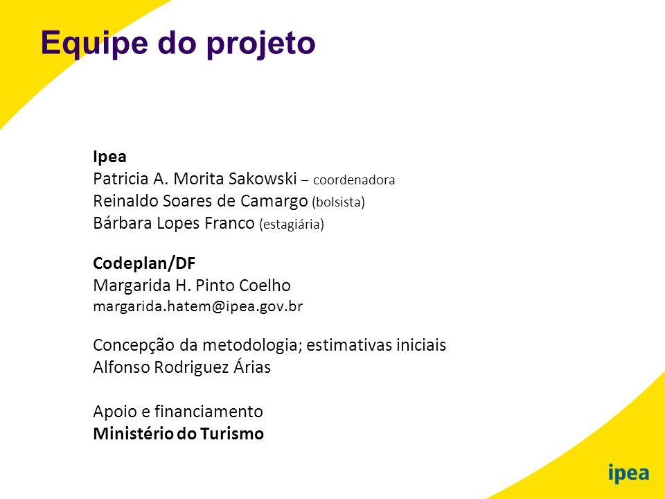 Ipea Patricia A. Morita Sakowski – coordenadora Reinaldo Soares de Camargo (bolsista) Bárbara Lopes Franco (estagiária) Codeplan/DF Margarida H. Pinto