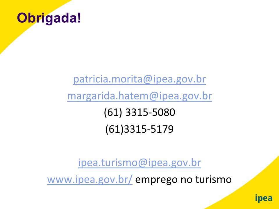 patricia.morita@ipea.gov.br margarida.hatem@ipea.gov.br (61) 3315-5080 (61)3315-5179 ipea.turismo@ipea.gov.br www.ipea.gov.br/www.ipea.gov.br/ emprego