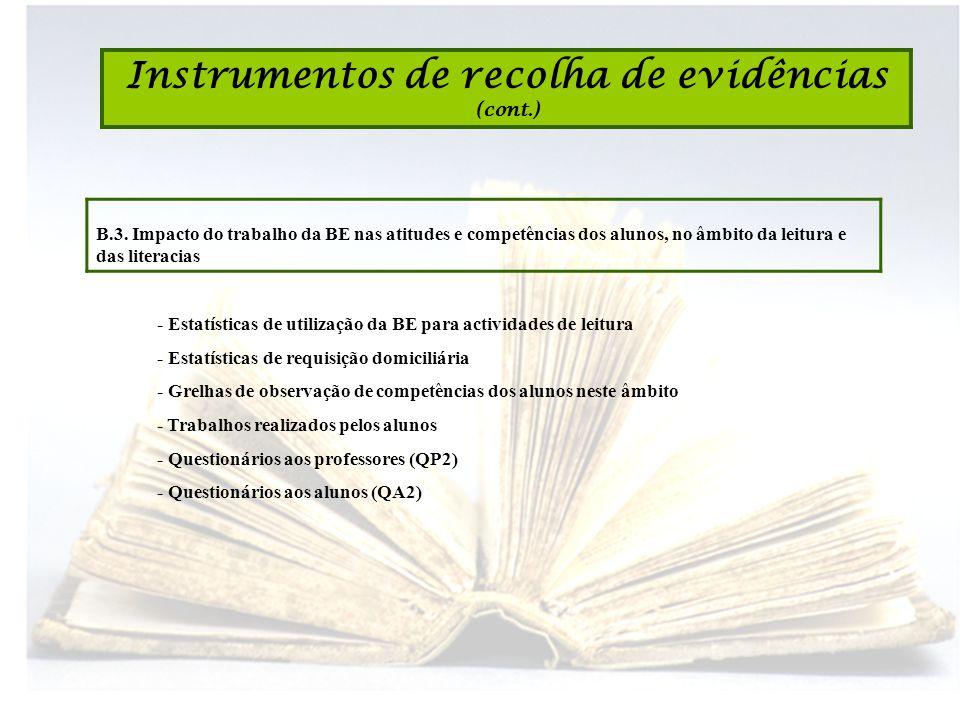 Instrumentos de recolha de evidências (cont.) B.3. Impacto do trabalho da BE nas atitudes e competências dos alunos, no âmbito da leitura e das litera