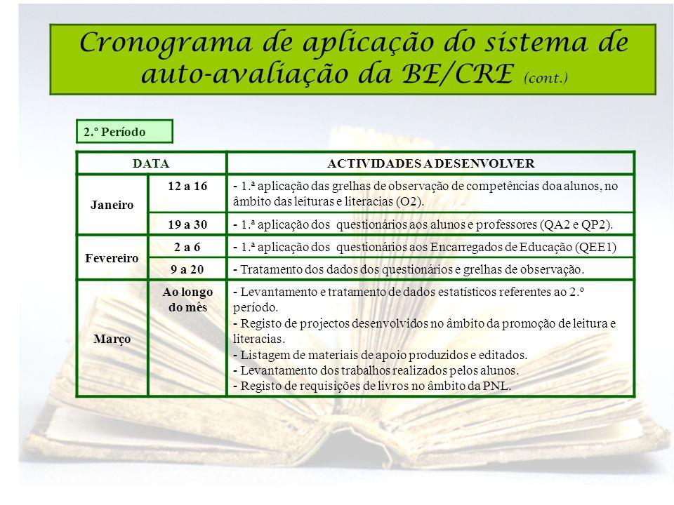 2.º Período DATAACTIVIDADES A DESENVOLVER Janeiro 12 a 16- 1.ª aplicação das grelhas de observação de competências doa alunos, no âmbito das leituras