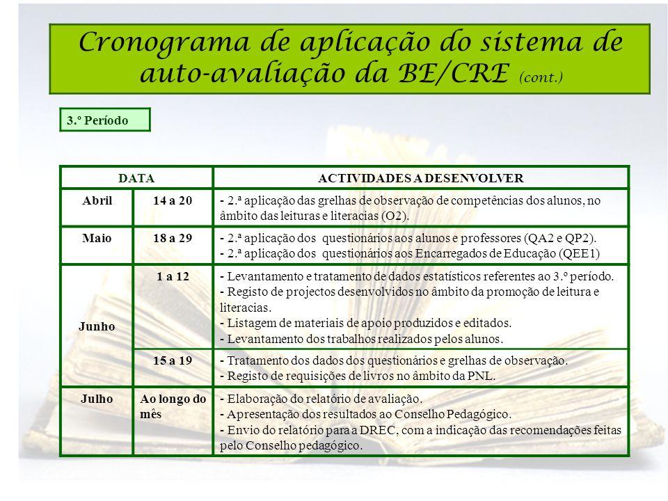 3.º Período DATAACTIVIDADES A DESENVOLVER Abril14 a 20- 2.ª aplicação das grelhas de observação de competências dos alunos, no âmbito das leituras e literacias (O2).