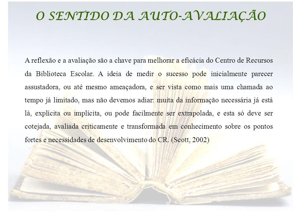 BIBLIOTECAS ESCOLARES O SENTIDO DA AUTO-AVALIAÇÃO A reflexão e a avaliação são a chave para melhorar a eficácia do Centro de Recursos da Biblioteca Escolar.