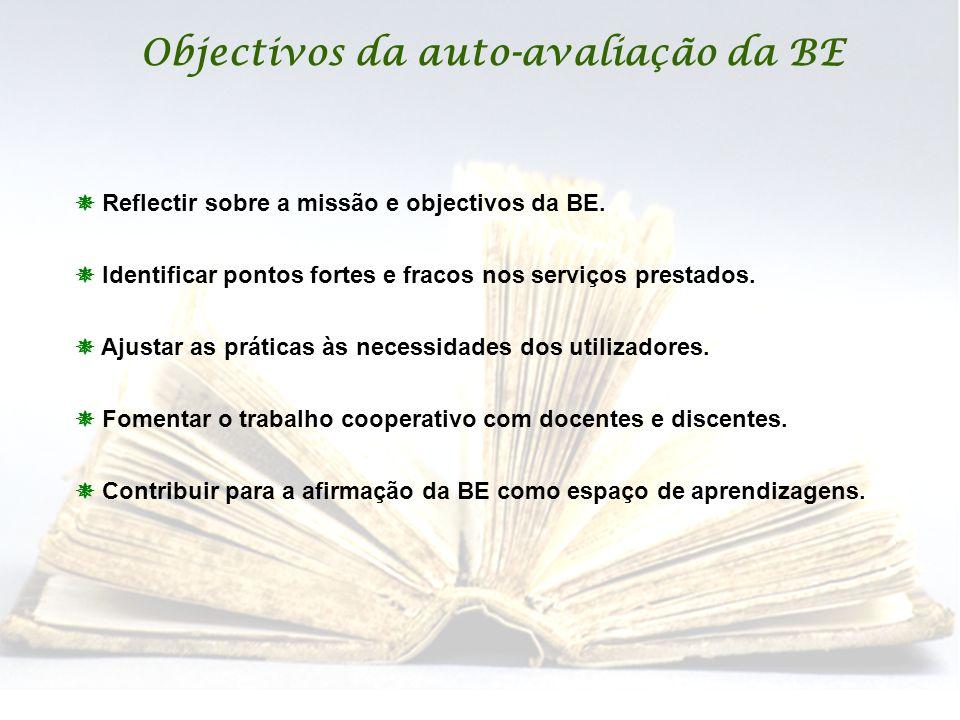 Objectivos da auto-avaliação da BE  Reflectir sobre a missão e objectivos da BE.  Identificar pontos fortes e fracos nos serviços prestados.  Ajust