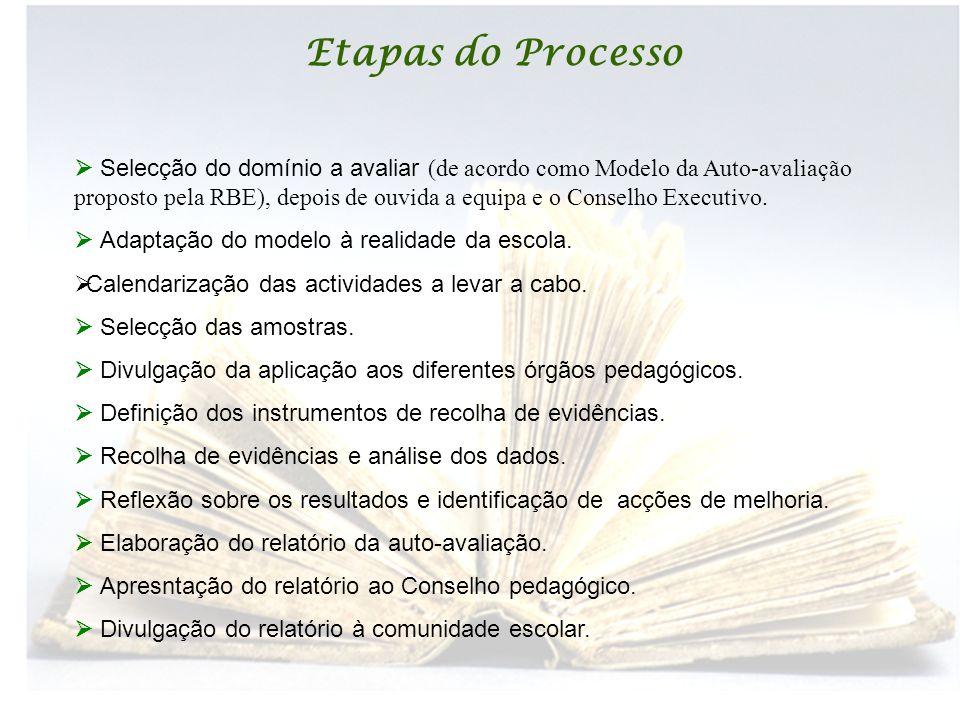 Etapas do Processo  Selecção do domínio a avaliar (de acordo como Modelo da Auto-avaliação proposto pela RBE), depois de ouvida a equipa e o Conselho