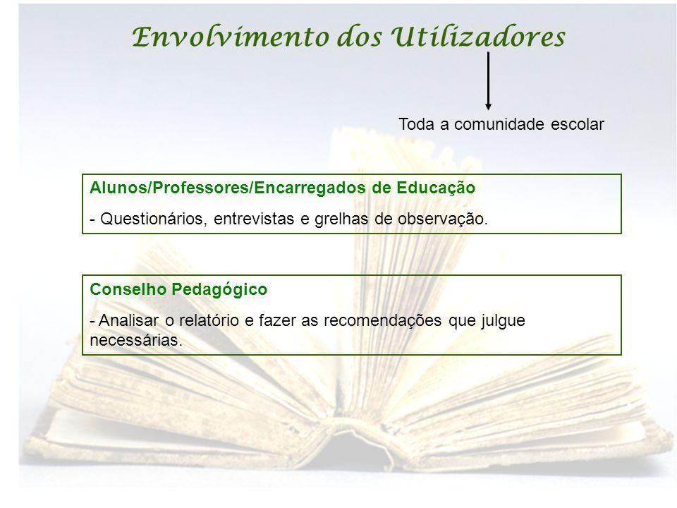 Envolvimento dos Utilizadores Toda a comunidade escolar Conselho Pedagógico - Analisar o relatório e fazer as recomendações que julgue necessárias. Al