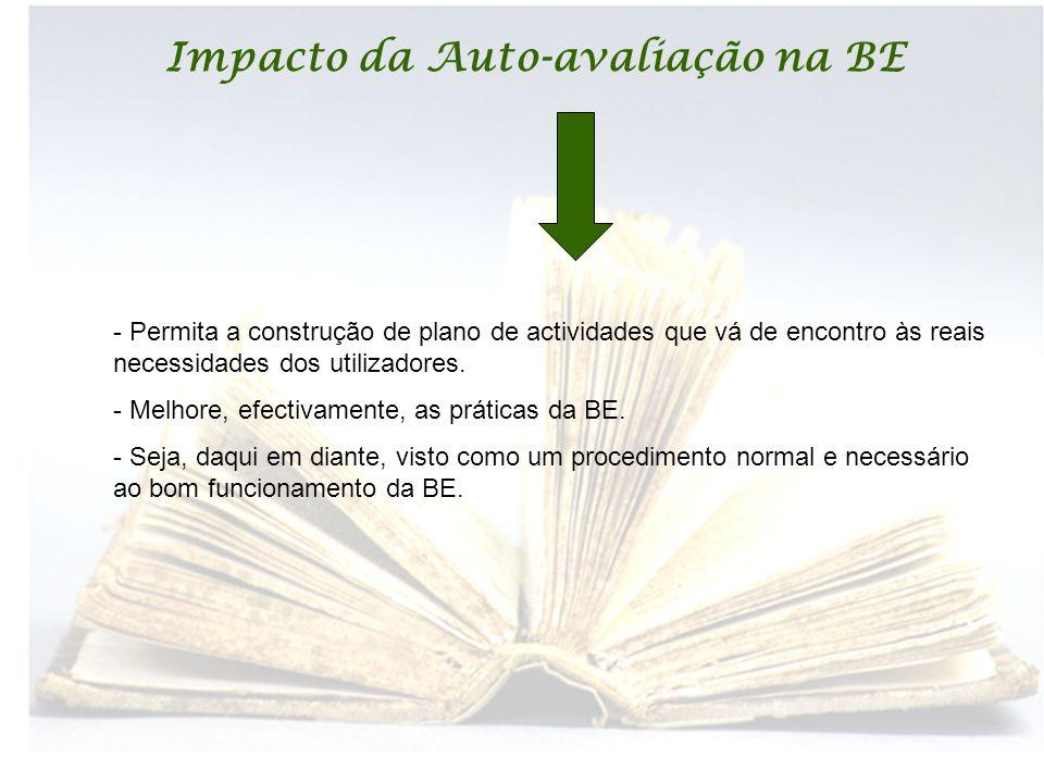 Impacto da Auto-avaliação na BE - Permita a construção de plano de actividades que vá de encontro às reais necessidades dos utilizadores. - Melhore, e