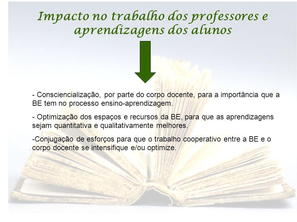Impacto no trabalho dos professores e aprendizagens dos alunos - Consciencialização, por parte do corpo docente, para a importância que a BE tem no processo ensino-aprendizagem.