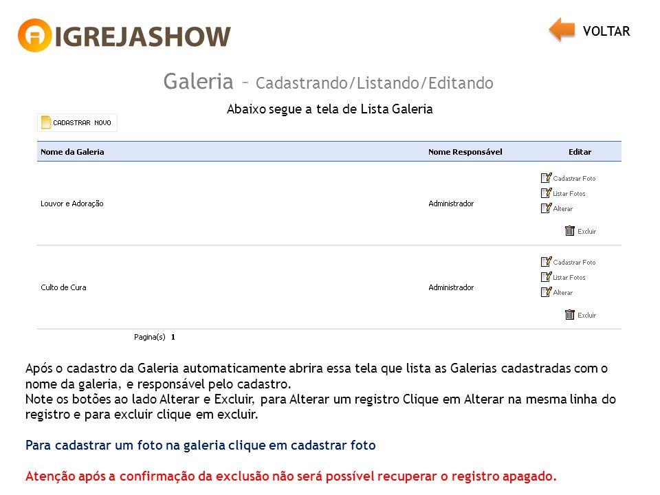 Galeria – Cadastrando/Listando/Editando Abaixo segue a tela de Lista Galeria Após o cadastro da Galeria automaticamente abrira essa tela que lista as Galerias cadastradas com o nome da galeria, e responsável pelo cadastro.