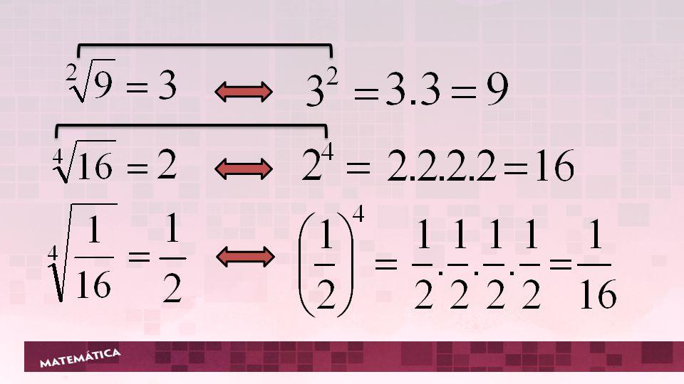 Quando a for um número real negativo e n um número natural par, diferente de zero, o resultado não é definido no conjunto dos números reais.
