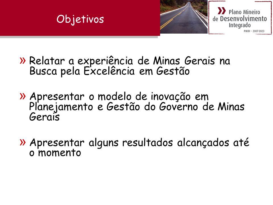Objetivos » Relatar a experiência de Minas Gerais na Busca pela Excelência em Gestão » Apresentar o modelo de inovação em Planejamento e Gestão do Governo de Minas Gerais » Apresentar alguns resultados alcançados até o momento