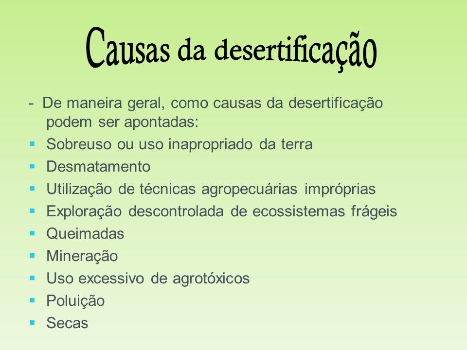 - De maneira geral, como causas da desertificação podem ser apontadas:   Sobreuso ou uso inapropriado da terra   Desmatamento   Utilização de té