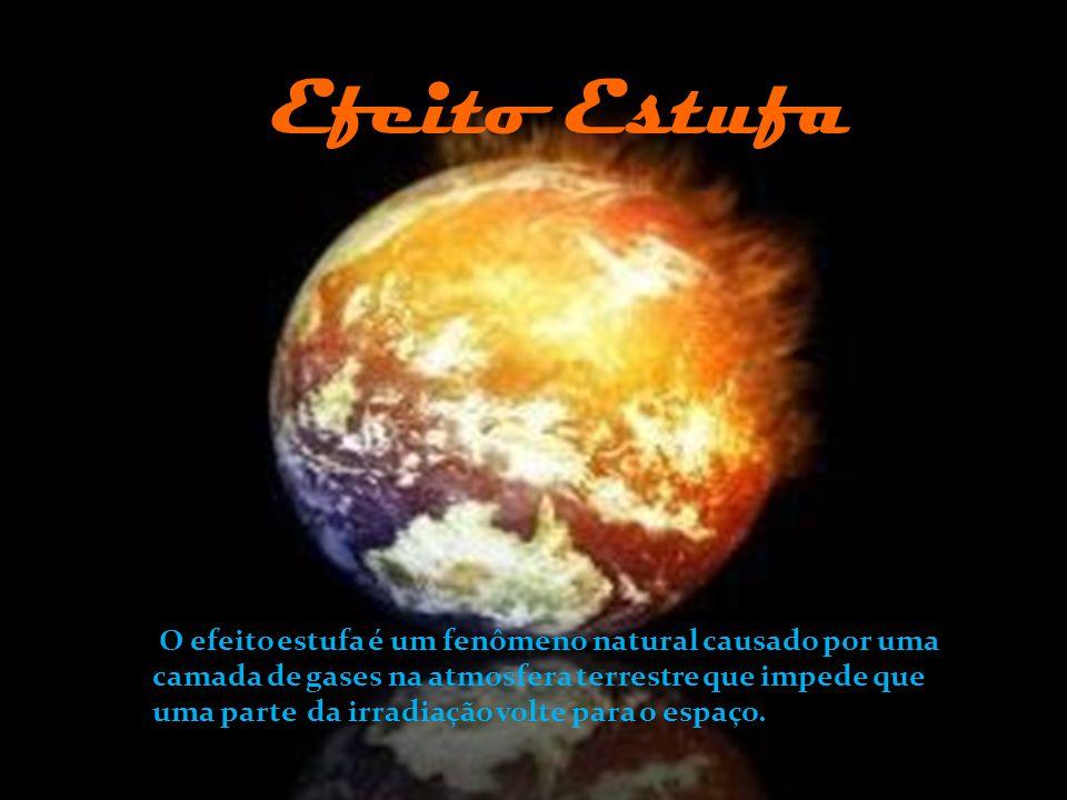 Efeito Estufa O efeito estufa é um fenômeno natural causado por uma camada de gases na atmosfera terrestre que impede que uma parte da radiação e do c
