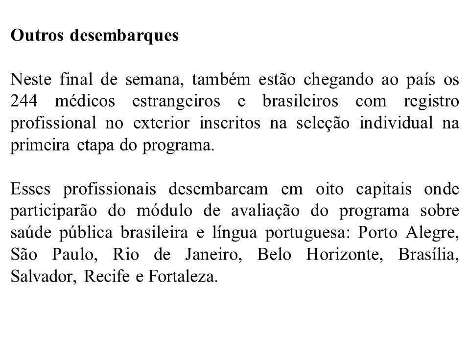 Outros desembarques Neste final de semana, também estão chegando ao país os 244 médicos estrangeiros e brasileiros com registro profissional no exteri